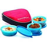 Signoraware Sleek Lunch Box with Bag Set, 3-Pieces, Blue