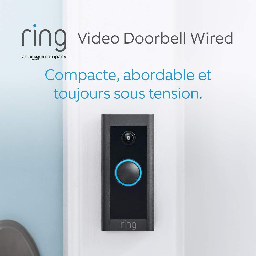 Ring Video Doorbell Wired par Amazon, Vidéo HD, détection de mouvements avancée, installation raccordée