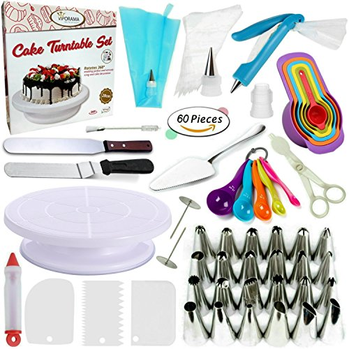 Cake Decorating Supplies Kit VIPorama 60pcs Set 1 Cake Turntable Stand 2 Icing Spatulas 24 Icing Tips 1 Cake Server 11 Pastry Bags 2 Cake Flower Nail 2 Pens 3 Scrapers 5 Measuring Spoons 6 Cups