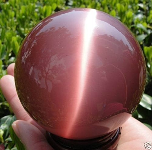 VERY BEAUTIFUL ASIAN QUARTZ PINK CAT EYE CRYSTAL BALL SPHERE 40MM + - Cat Asian Eye