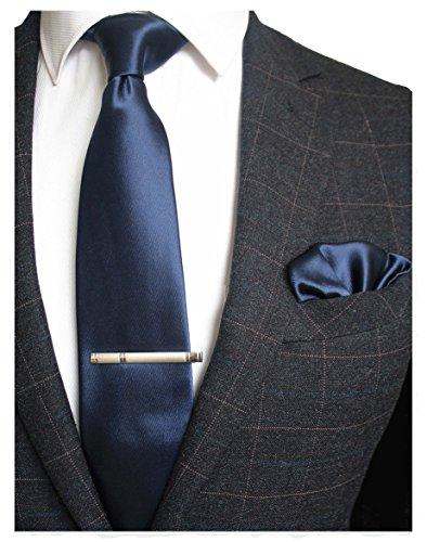 JEMYGINS Mens Formal Navy Necktie and Pocket Square, Hankerchief and Tie Bar Clip Sets (11) -