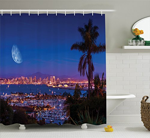 Ambesonne Apartment Decor Collection, San Diego California Night with Large Moon on the Horizon Yachts Panorama Picture, Polyester Fabric Bathroom Shower Curtain Set with Hooks, Navy Blue Ivory