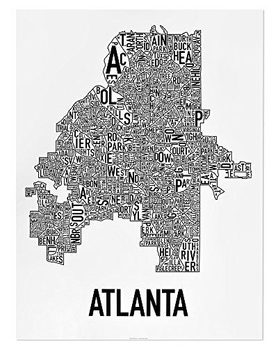 Atlanta Neighborhood Type Map Art Poster, Black & White, 18