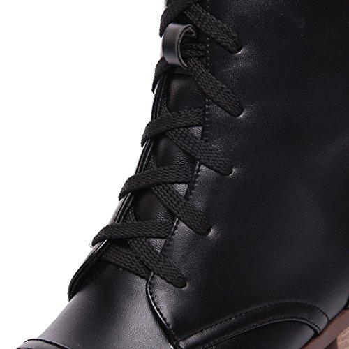 Sólido Alta Tacón Caña Botas AgeeMi Mujeres Redonda Cordones Shoes Negro Puntera Medio Oqqzx0Hw