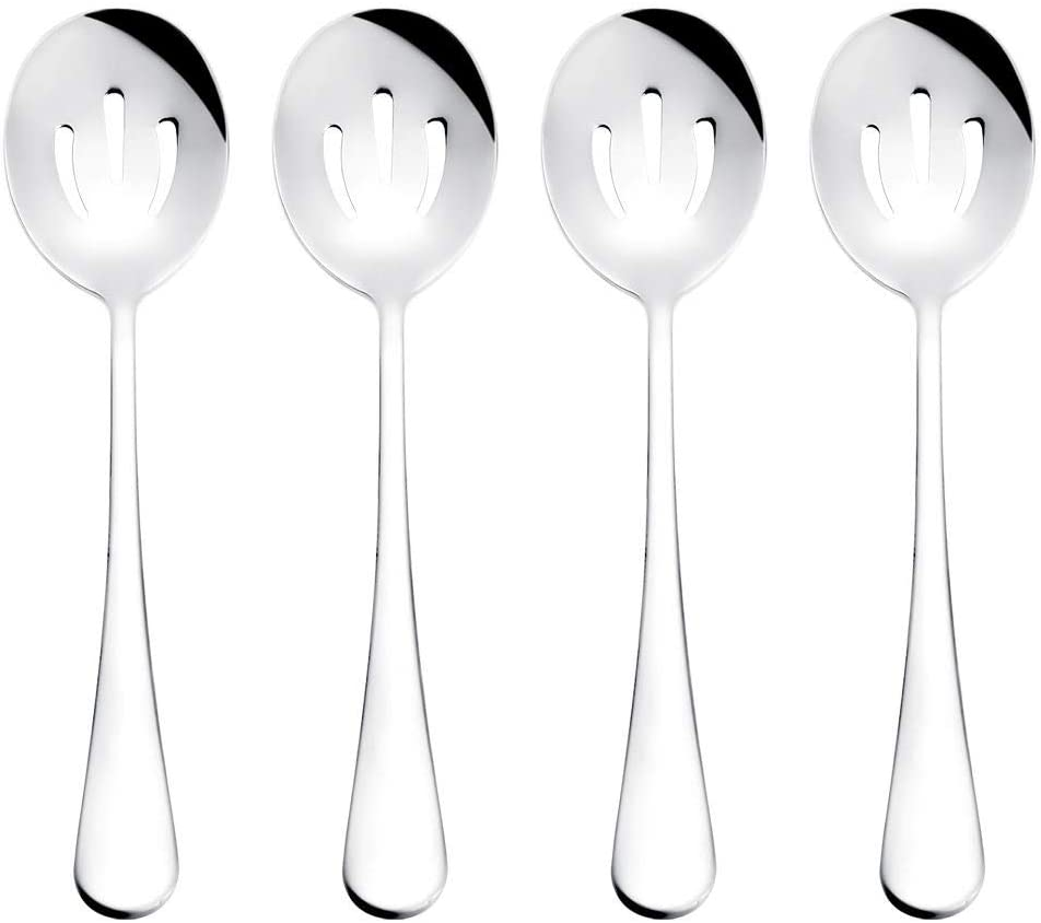 Serving Spoons, 8.7-inch Stainless Steel Buffet Slotted Serving Spoons are Used for The Basic Service of Buffet, Banquet, Cooking Kitchen, Set of 4 (Silver, 0.61lb)