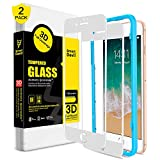 SMARTDEVIL for iPhone 7 Plus/8 Plus Screen Protector [2 Pack], 3D Full Coverage Tempered Glass-[Easy Installation Frame],Screen Protector Tempered Glass for Apple iphone 7 Plus/8 Plus,White