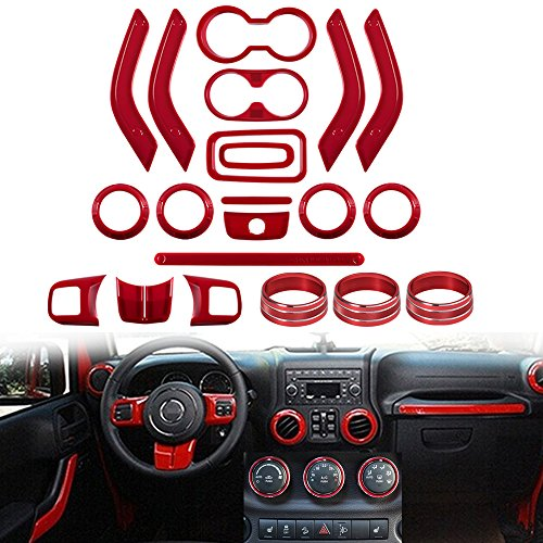 Opall 21PCS Interior Decoration Trim Kit Steering Wheel & Center Console Air Outlet Trim, Door Handle Cover Inner, Passenger Seat Handle Trim For Jeep Wrangler JK JKU 2011-2017 4 Door (RED)