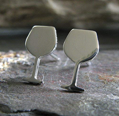 Wine Glass stud earrings polished sterling silver vino jewelry. Handmade in the - Pinot Grigio Blush