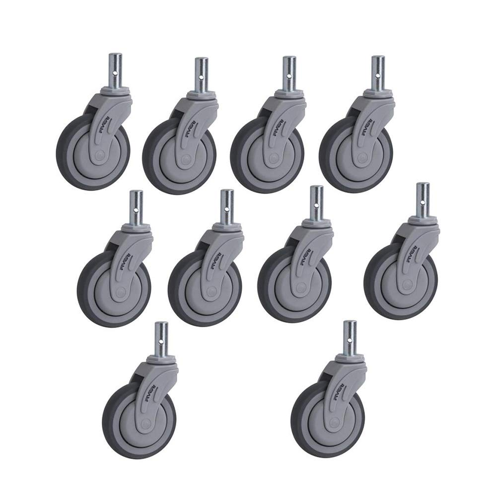 MUMA Casters Gray TPR Universal Plunger Medical Furniture Wheel 5 Inches 10 Pack (Size : 5 inch)