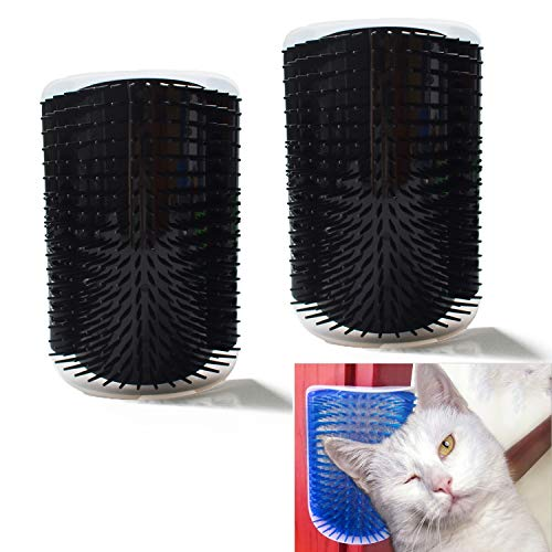 Hub's Gadget 2 Pack Cat Self Groomer, Wall Corner Massage Comb Grooming Brush with Catnip Pouch, Black