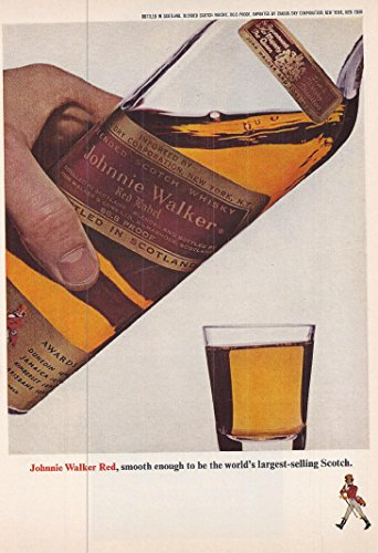 1965 Vintage Alcohol Advertisement Johnnie Walker Red Label Scotch Whiskey Red Label Whiskey