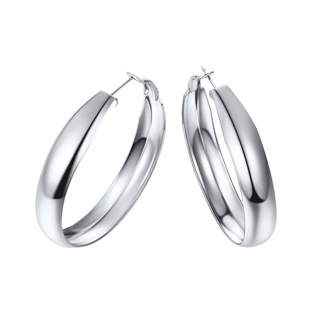 Stainless Steel Hoop Earrings 40mm Medium Sized Loop Earring Chic European Style Ear Jewelry