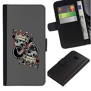 JackGot ( As Picas Skull Crown King Gris ) HTC One M8 la tarjeta de Crédito Slots PU Funda de cuero Monedero caso cubierta de piel