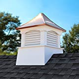 """Good Directions Vinyl Coventry Louvered Cupola with Pure Copper Roof, Maintenance Free Solid Cellular PVC Vinyl, 30"""" x 42"""", Reinforced Roof and Louvers, Cupolas"""