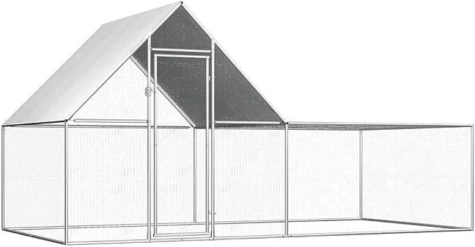 vidaXL Gallinero Exterior Grande Jaula Gallinas Conejos Aves Conejera Metálica Acero Galvanizado Corral Cubierto Malla Metal Tejado Cerradura 4x2x2 m