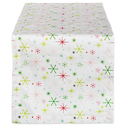 DII 14x108 Cotton Table Runner, Christmas Stars - Perfect for Dinner Parties, Christmas, Holidays, or Everyday use (Ornament Runner Christmas)
