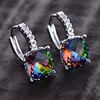 Siam panva Women Fashion 925 Silver Rainbow Topaz Drop Huggie Earrings Wedding Jewelry New