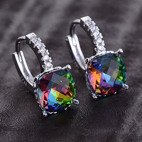 Siam panva Women Fashion 925 Silver Rainbow Topaz Drop Huggie Earrings Wedding Jewelry (Tiffany Cushion Earrings)