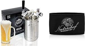 Pressurized Beer Mini Keg System - 64oz Stainless Steel Growler Tap, Portable Mini Keg Dispenser Keg w/NutriChef Keg Cooler Neoprene Insulation Keg Jacket Keeps Your Beer or Beverage Cold