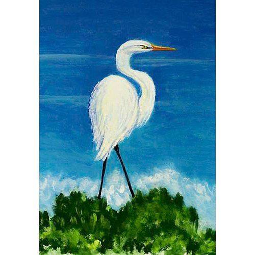 Betsy Drake FL325G Great Egret Flag,28″ X40″ For Sale