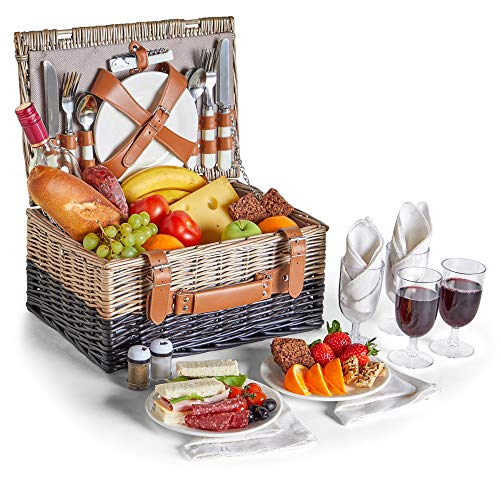 (VonShef Picnic Basket for 4 - Wicker Two Tone Herringbone Picnic Basket Set - Stainless Steel Cutlery, Plates, Salt & Pepper Shakers, Wine Glasses, Bottle Opener, Cotton Napkins)