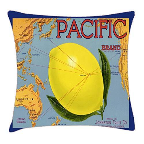 HFYZT Vintage Fruit Crate Label Art Pacific Lemon Citrus Pillow Cover Standard Throw Pillowcase 18X18 Inch ()