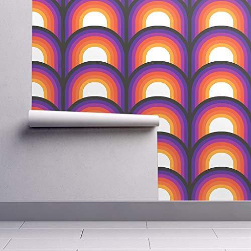 Removable Water-Activated Wallpaper - Retro Retro Orange Red Purple Black Retro Decor Retro Mod 70S Seventies Op Art by Circa78designs - 24in x 96in Smooth Textured Water-Activated Wallpaper Roll (70s Retro Wallpaper)