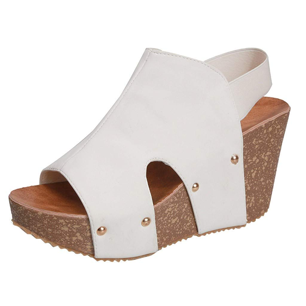 Kauneus Women's Wedge Platform Sandal Elastic Ankle Strap High Heel Cork Slip On Casual Summer Shoes White