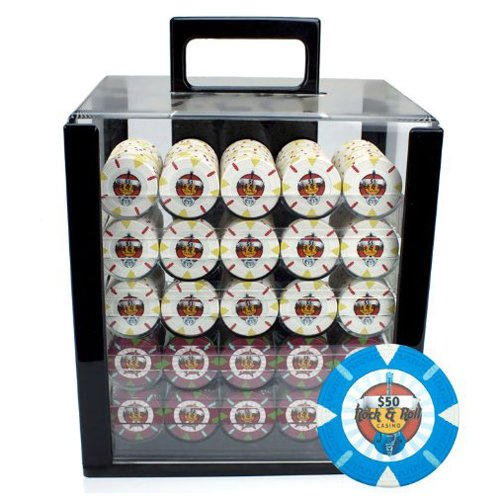 Claysmith Gaming 1000-Count 'Rock & Roll' Poker Chip Set in Acrylic case,...