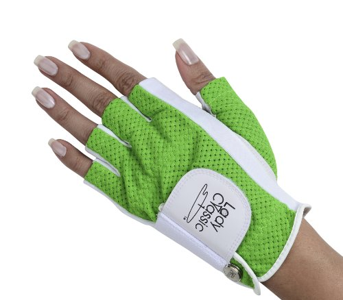 Athletic Classic Gloves - Lady Classic 1/2 Finger golf glove Green Large Left Hand