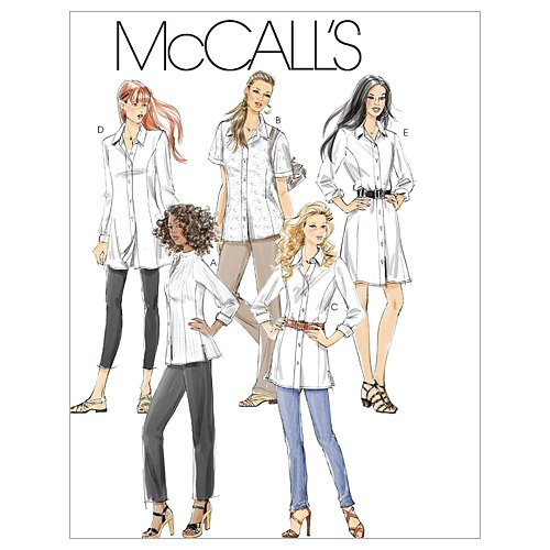 McCall's Patterns M6124 Misses'/Miss Petite/Women's/Women's Petite Shirts in 3 Lengths, Size B5 (8-10-12-14-16)