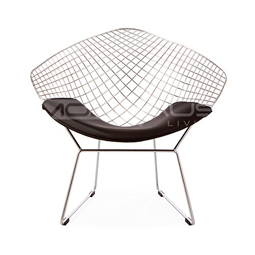 (ModHaus Mid Century Modern Bertoia Style Chrome Diamond Accent Chair with Black Faux Leather Seat Pad)