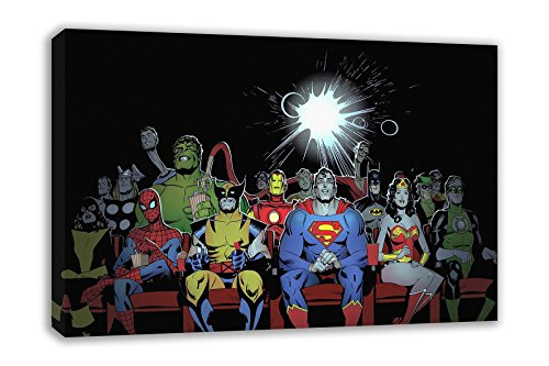 MARVEL DC COMIC SUPERHEROES AT THE MOVIES CINEMA CANVAS ART (30 X 18)