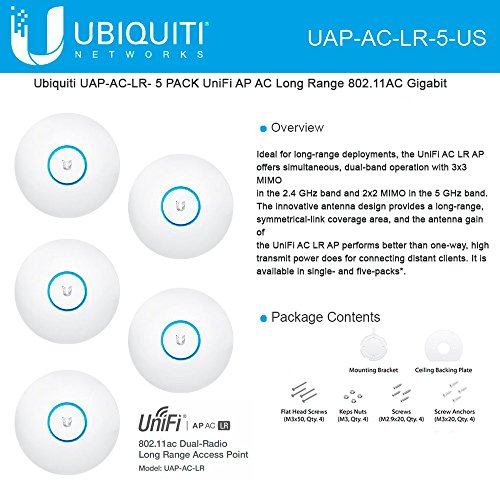 Ubiquiti UniFi UAP AC LR 2.4GHz/5GHz, 802.11ac, No PoE adapters in Set - 5 Pack by Ubiquiti Networks