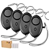 TOODOO 130db Safesound Personal Security Alarm Keychain, Safety Emergency Alarm with LED Safety and SOS Emergency Alarm Providing Powerful Safety and Property Assurance for Kids, Women (Black)