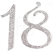 Large 18, 18th Happy Birthday Cake Topper, Anniversary, Crystal Rhinestones on Silver Metal, Party Decorations, Favors