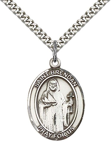 - F A Dumont Sterling Silver St. Brendan the Navigator Pendant with 24
