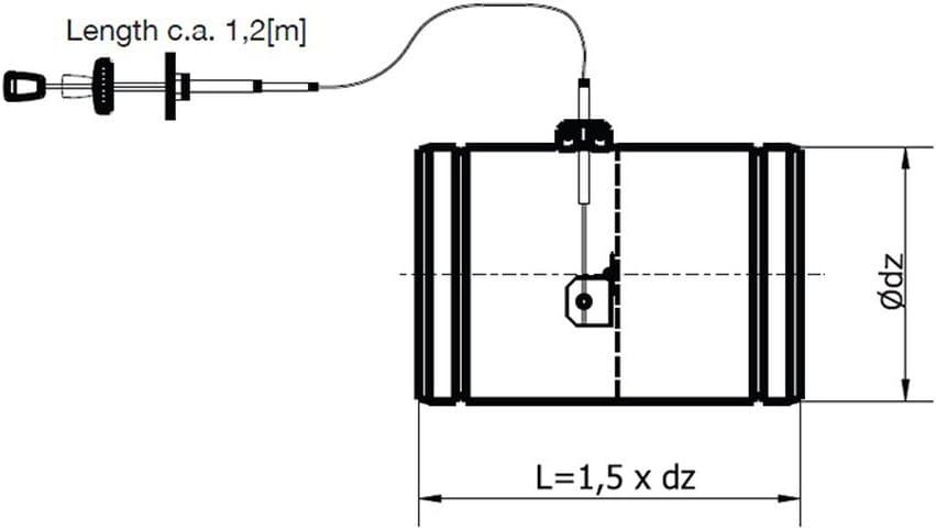 /Ø 150 mm Luftklappe mit Bowdenzug mit Silikondichtung zur Fernbedienung der Klappenstellung