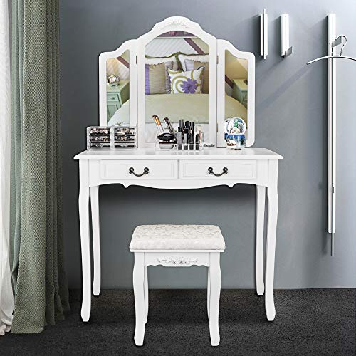 Bonnlo White Vanity Set with Tri-Folding Mirror Makeup Dressing Table with  Vanity Stool,Bedroom Vanity Table with 2 Large Drawers&Necklace Hooks