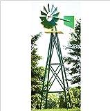USA Premium Store 8FT Green Metal Windmill Yard Garden Decoration Weather Rust Resistant Wind Mill