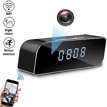 Amazon.com: QUANDU WiFi Cámara oculta alarma reloj espía ...