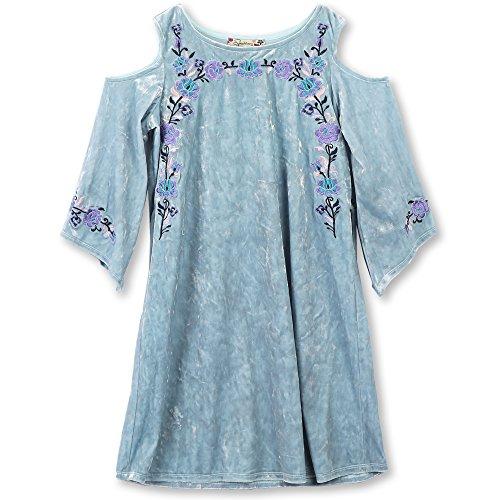 Speechless Big Girls Embroidered Crushed Velvet Cold Shoulder Dress