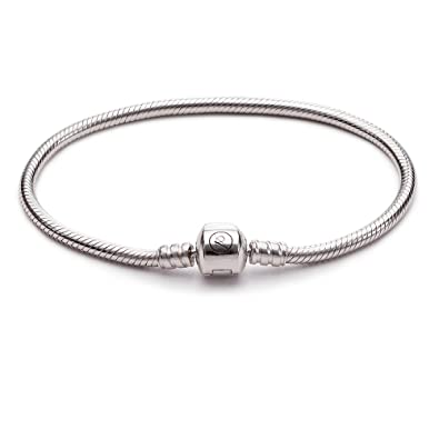 471103bd3 ATHENAIE 925 Sterling Silver Snake Chain Bracelet Fit European Charm Beads:  Amazon.co.uk: Jewellery