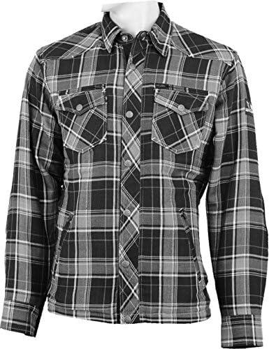 Bores bolsillo camisa de leñador, muy resistente, impermeable, color gris/negro/blanco de cuadros, tamaño M: Amazon.es: Coche y moto