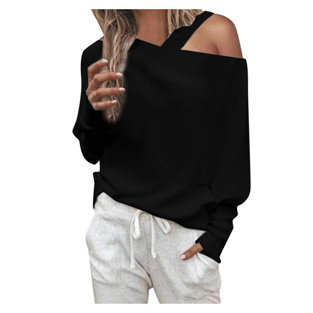 Oversize Fledermaus/ärmel Casual Pullovers Langarmshirt Bluse Pullover Pulli Sweatshirt Casual Shirt Ulanda-EU Damen Schulterfrei Langarmshirt