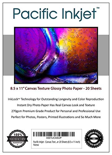 (Pacific Inkjet - Canvas Textured inkjet Printer Photo Paper 20 Sheets (8.5-x-11-inch))