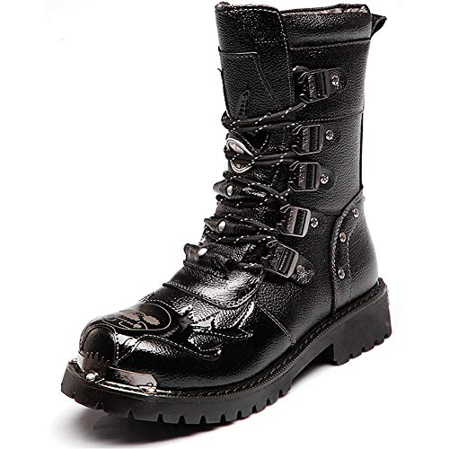 NSST Mens Martin Boot Handmade British Fashion Genuine Leather Waterproof High Boots Metal Accessories Steampunk Shoes Four Seasons Cowboy Boots Uniform Boots,38