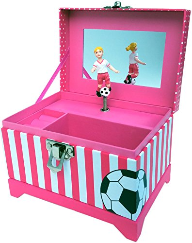 Just Like Me Soccer Player Musical Jewelry Box (Blonde Hair Figurine) by My Tiny Treasures Box Company