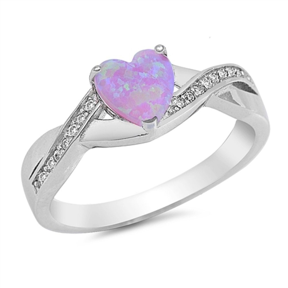 CloseoutWarehouse Cubic Zirconia Infinity Heart Ring Sterling Silver (Color Options, Sizes 4-13) (Pink Simulated Opal, 6)