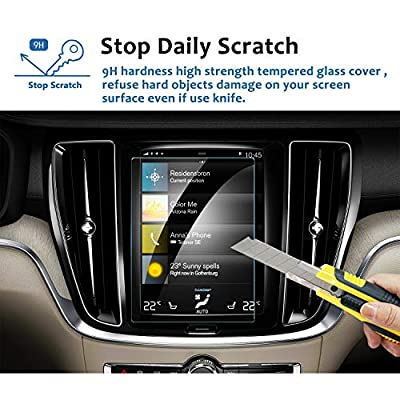 LFOTPP 2020 Volvo S60 8.7-Inch Sensus Car Navigation Screen Protector, Tempered Glass 9H Hardness Car Infotainment Display Center Touch Protective Film Scratch-Resistant